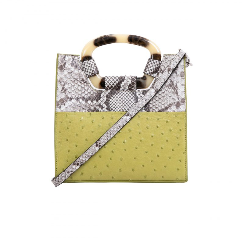 Palma in Chartreuse Ostrich & Natural Burmese Python Combination 1