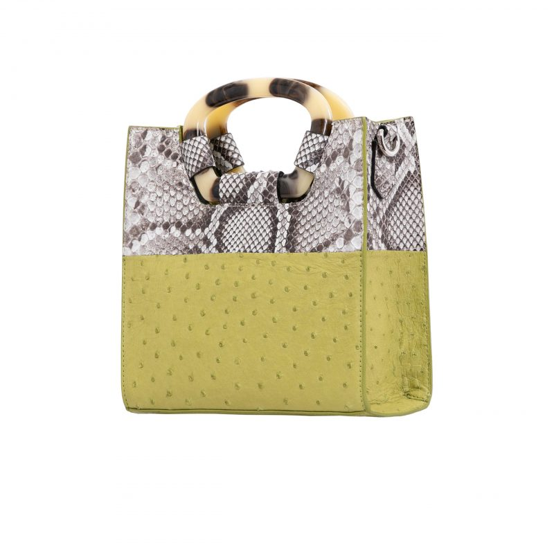 Palma in Chartreuse Ostrich & Natural Burmese Python Combination 2