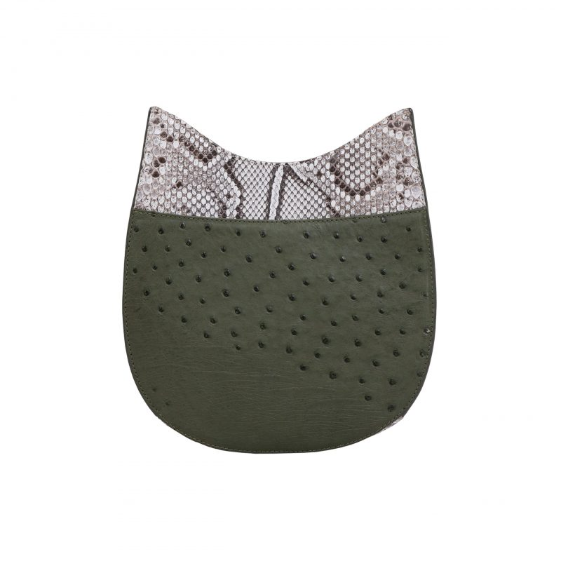 Capri in Forest Green Ostrich & Natural Python Combination 1