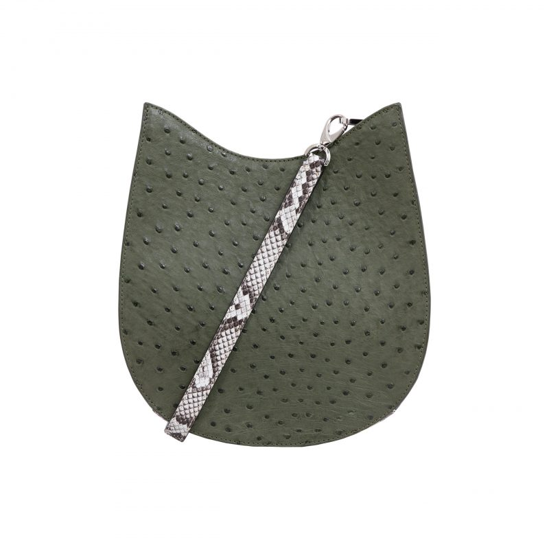 Capri in Forest Green Ostrich & Natural Python Combination 3
