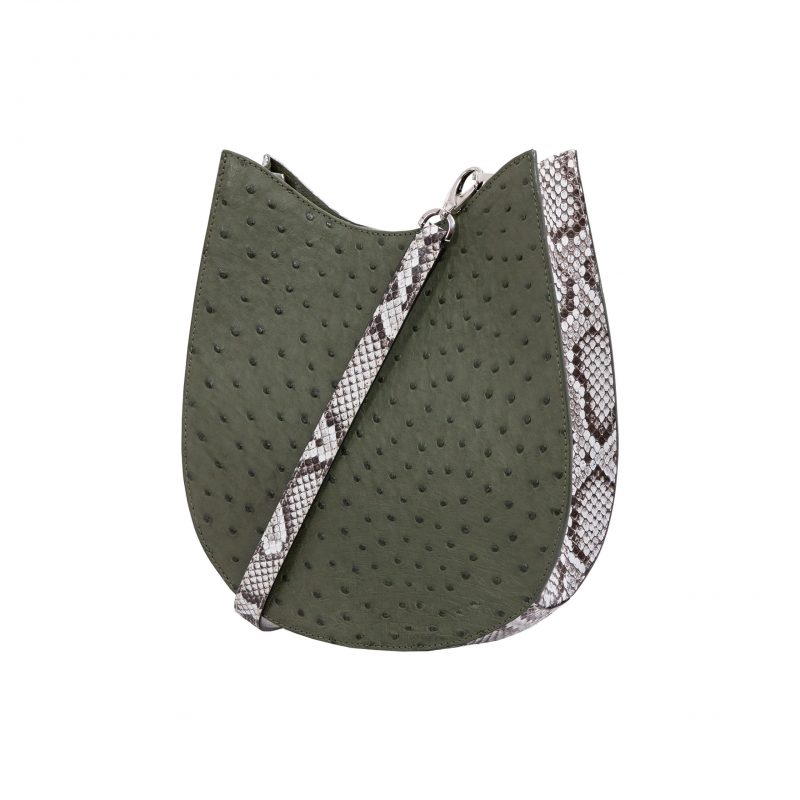 Capri in Forest Green Ostrich & Natural Python Combination 2