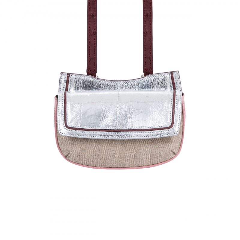 Resort 19/20 Fallow Beltbag Silver & Pink Ostrich with Canvas Combination 4