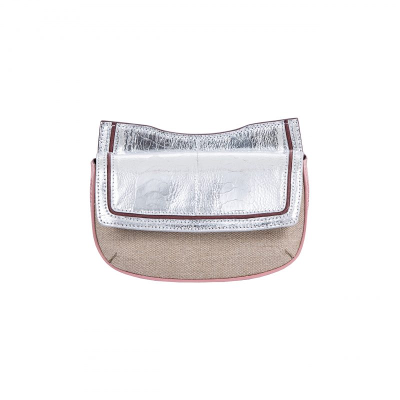 Resort 19/20 Fallow Beltbag Silver & Pink Ostrich with Canvas Combination 1