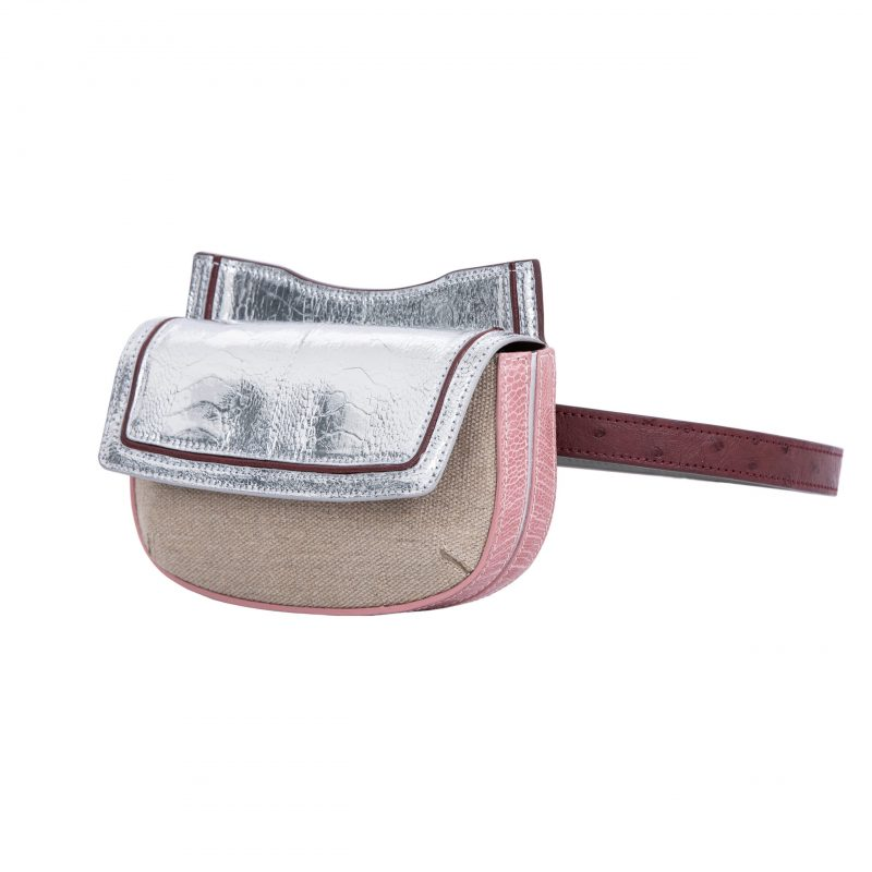 Resort 19/20 Fallow Beltbag Silver & Pink Ostrich with Canvas Combination 2
