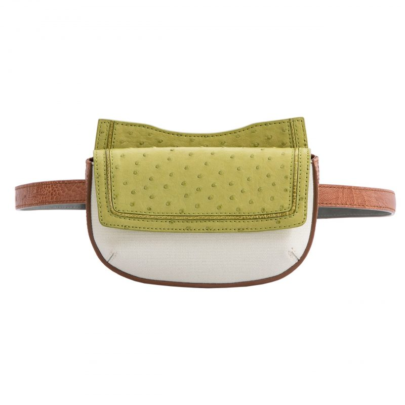 Fallow Beltbag in Chartreuse Ostrich & Burnt Umber Ostrich Leg with Canvas Combination 1