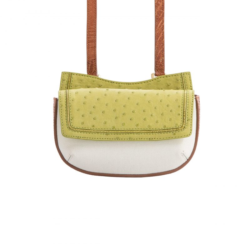 Fallow Beltbag in Chartreuse Ostrich & Burnt Umber Ostrich Leg with Canvas Combination 3