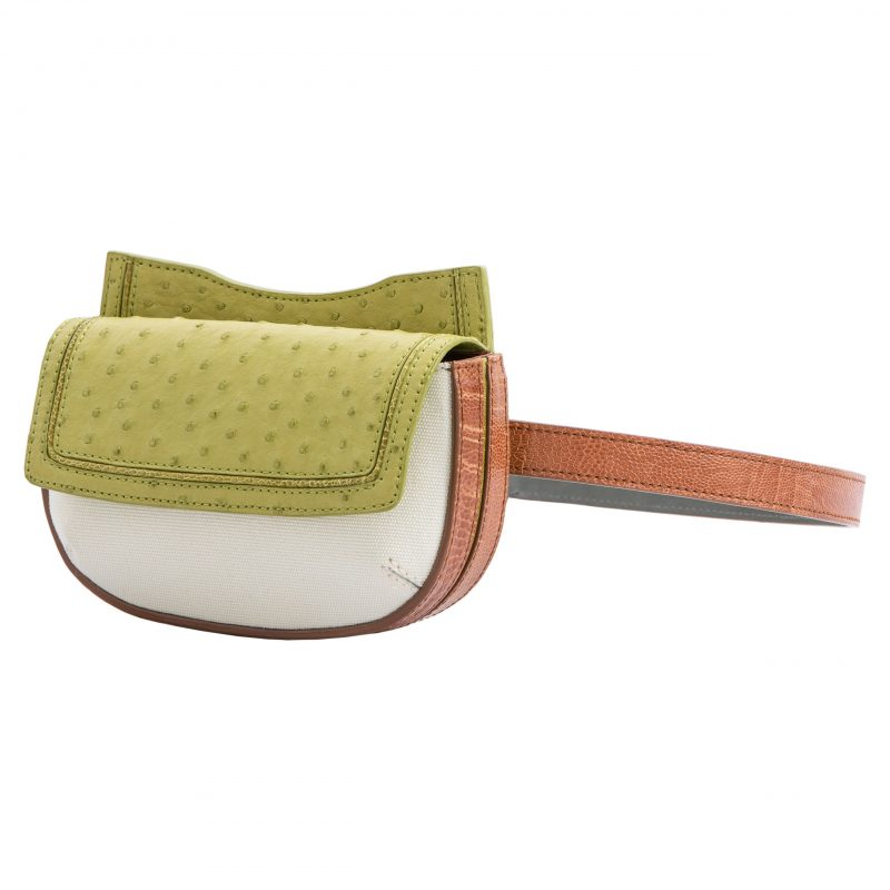 Fallow Beltbag in Chartreuse Ostrich & Burnt Umber Ostrich Leg with Canvas Combination 2