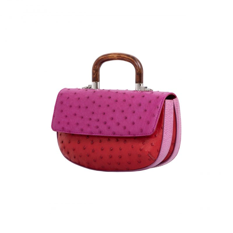 Picco in Orchid & Rouge Ostrich with Lilac Ostrich Leg Trim 2