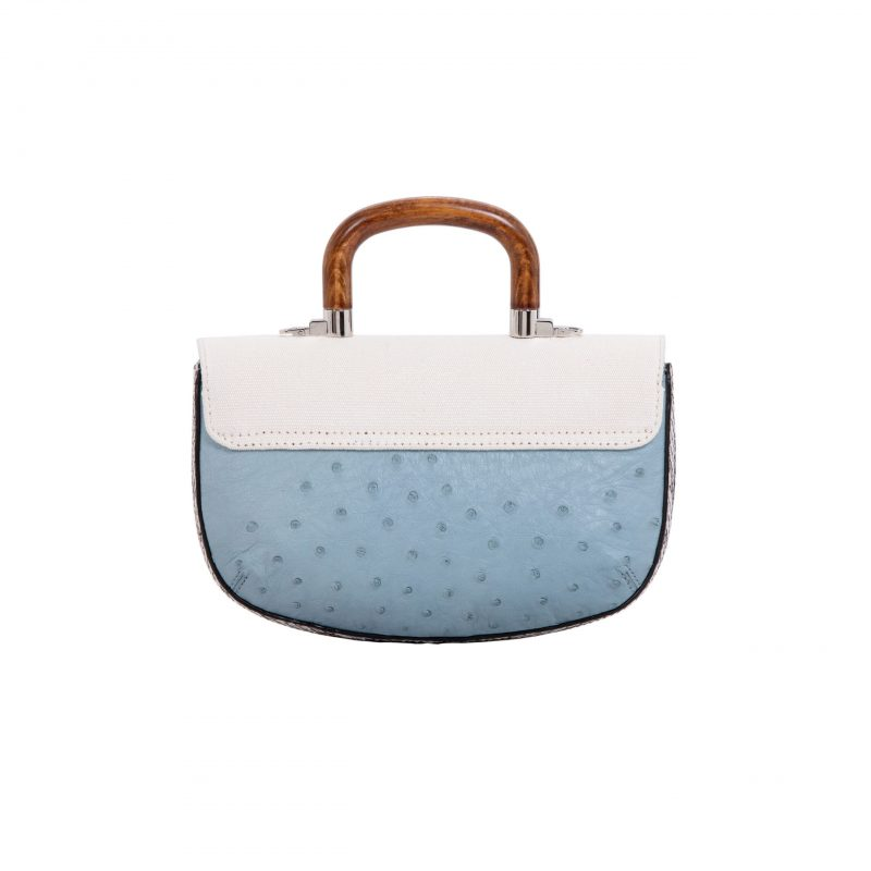 Picco in Sapphire Ostrich & Natural Python with Canvas 4