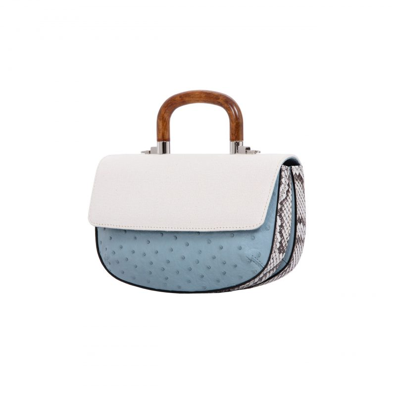 Picco in Sapphire Ostrich & Natural Python with Canvas 2