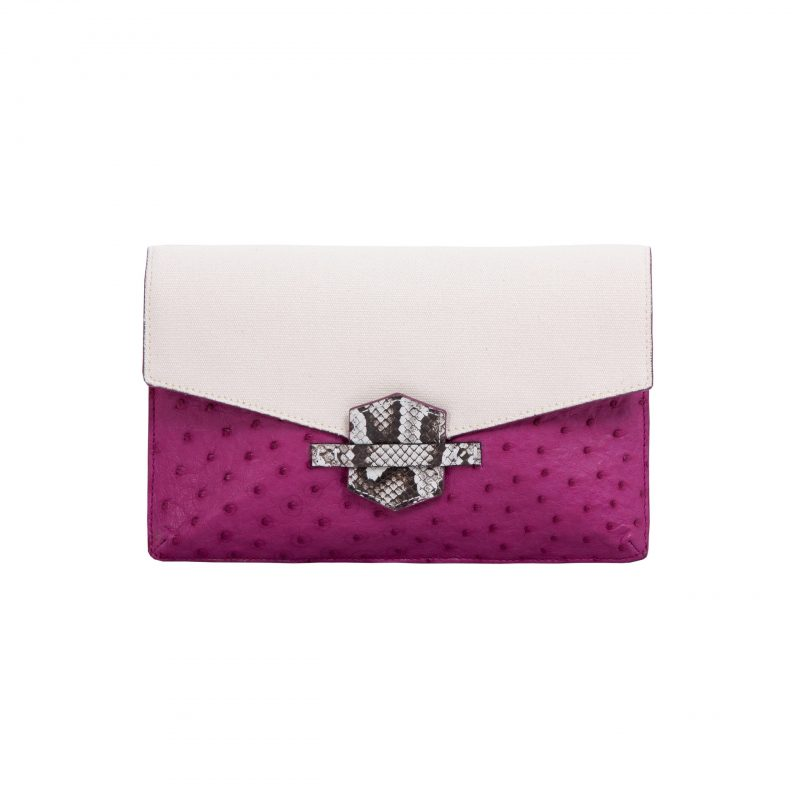 SS2020 Ivy in Orchid Ostrich & Canvas with Python Trim 1