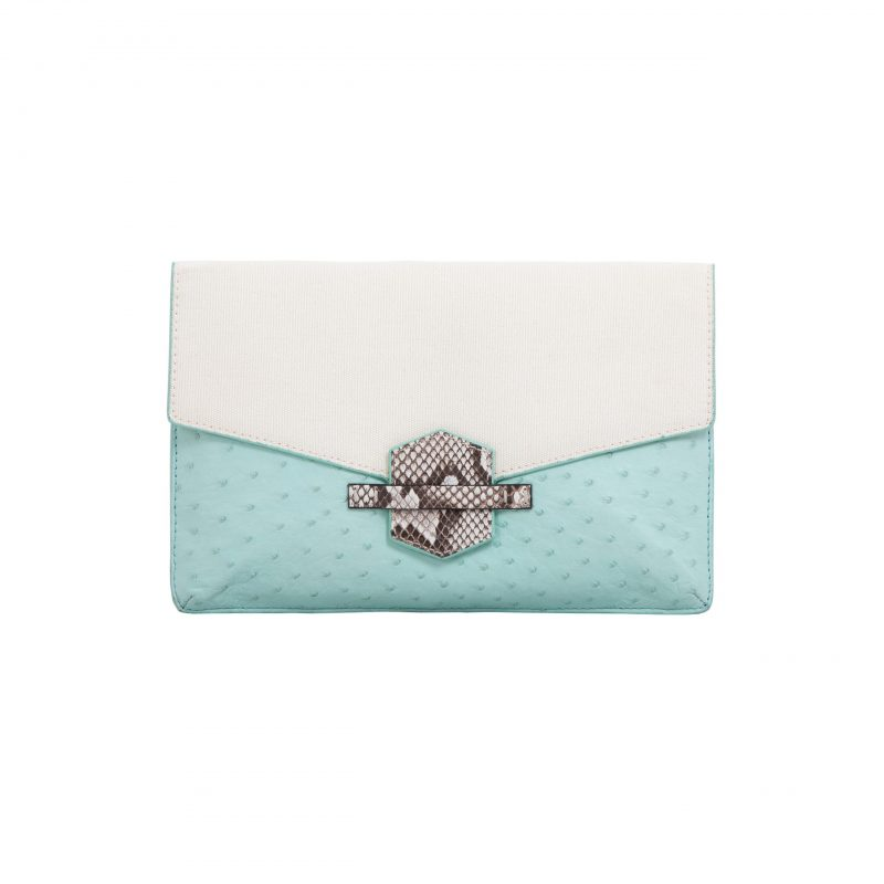SS2020 Ivy in Spearmint Ostrich & Canvas with Python Trim 1