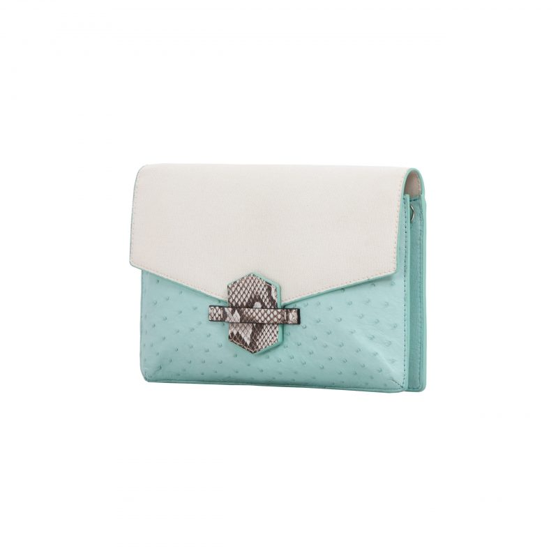 SS2020 Ivy in Spearmint Ostrich & Canvas with Python Trim 2