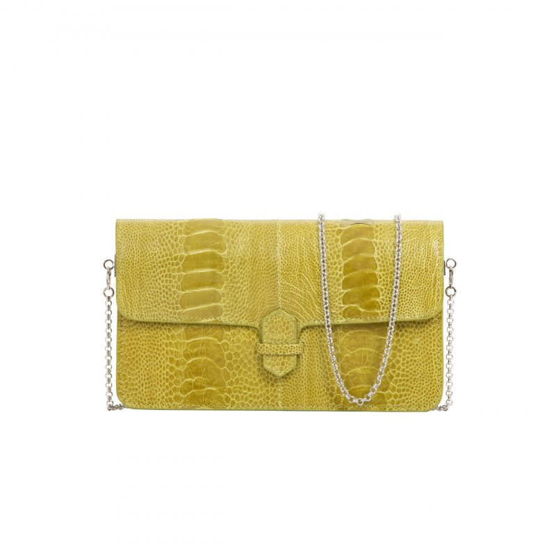 Accordion Crossbody Wallet in Chartreuse Ostrich Leg 1