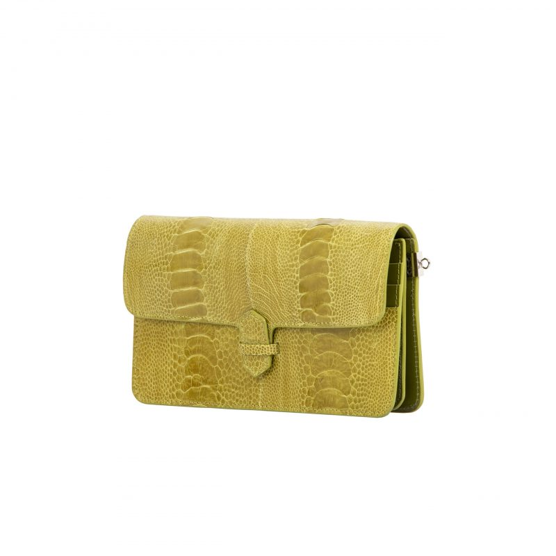 Accordion Crossbody Wallet in Chartreuse Ostrich Leg 2