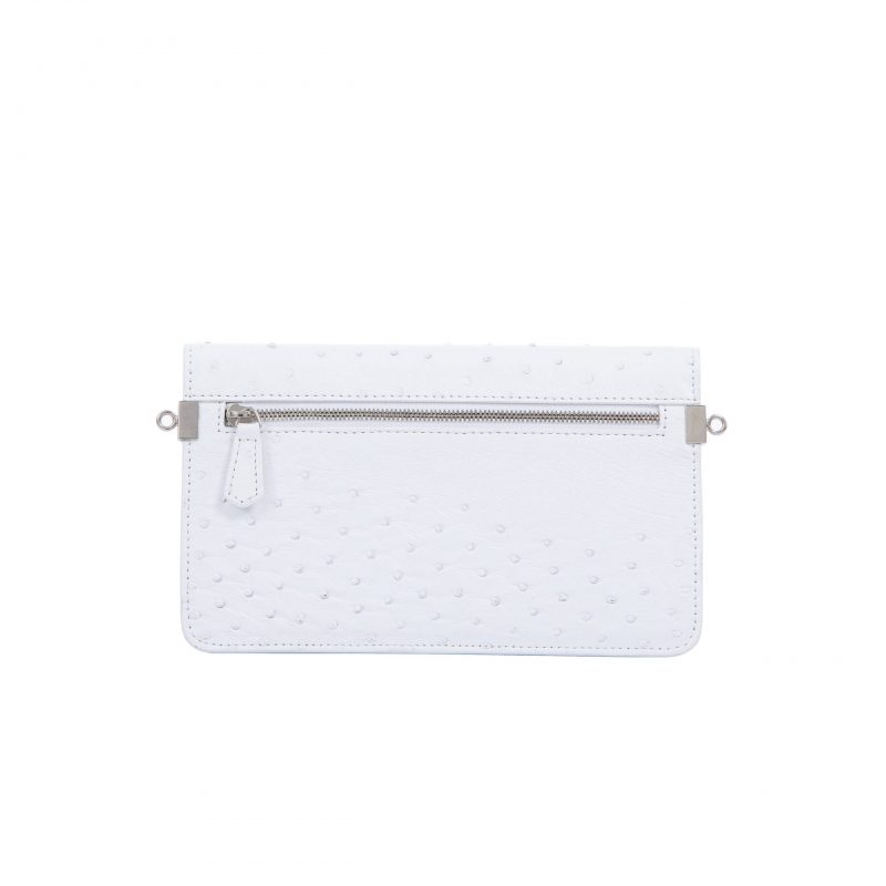 Accordion Crossbody Wallet in White Ostrich 3