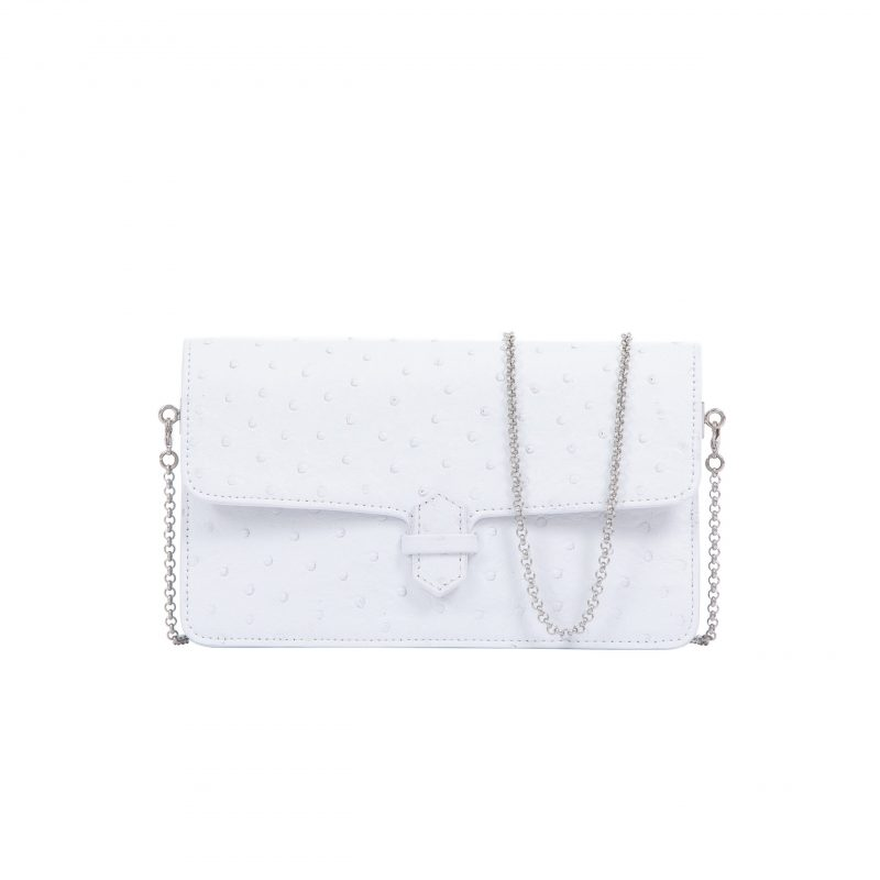 Accordion Crossbody Wallet in White Ostrich 1