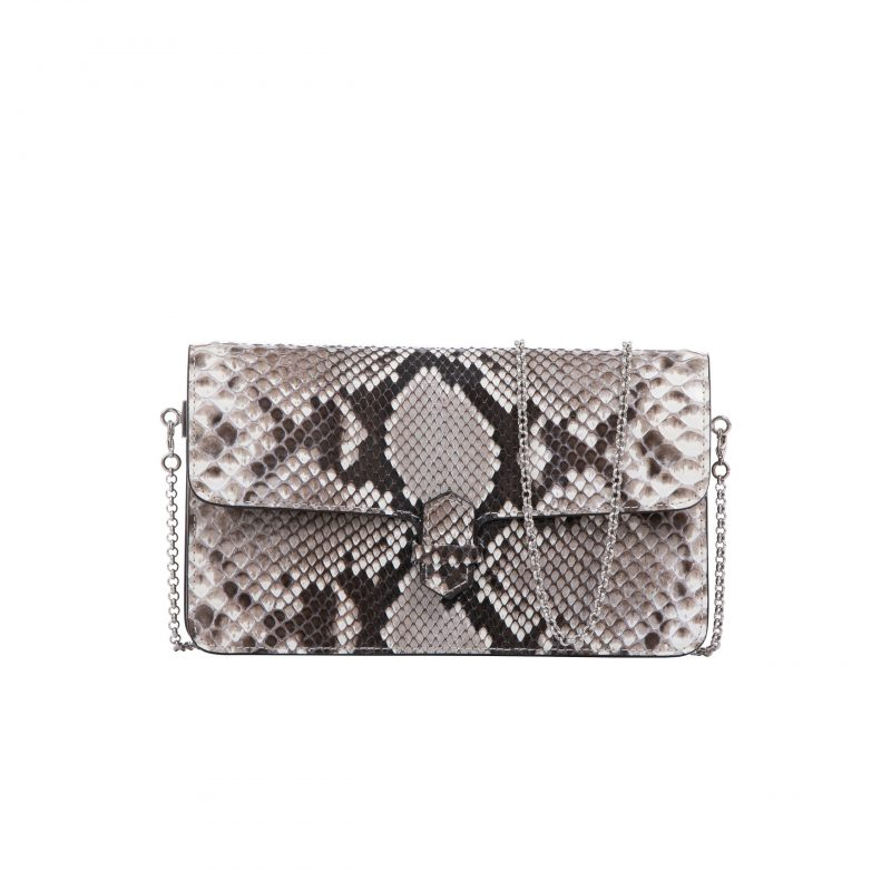 Accordion Crossbody Wallet in Natural Shiny Python 1