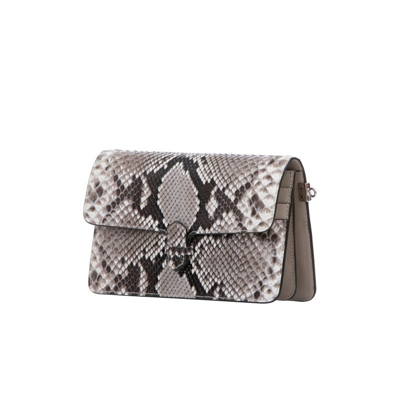 Accordion Crossbody Wallet in Natural Shiny Python 2