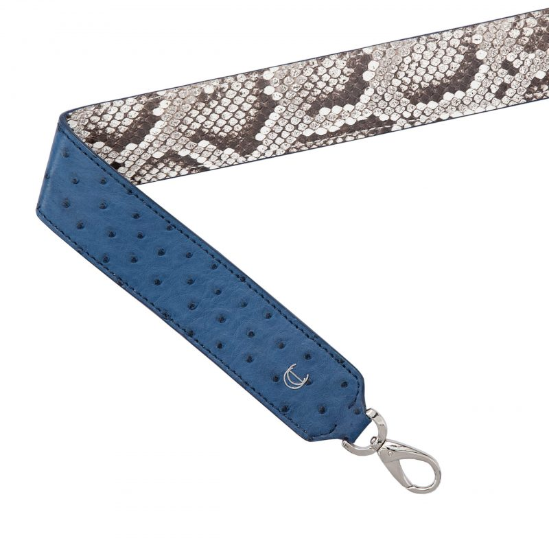 Reversible Strap in Cobalt blue Ostrich & Natural Python 1