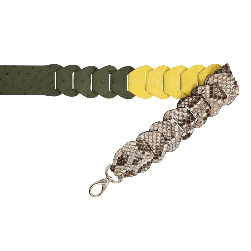 Cross body Link Strap in Warm Olive & Forest Green Combination 1