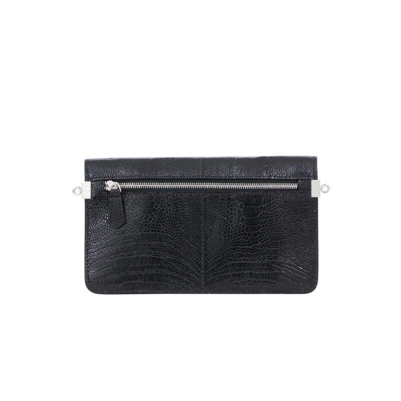 Accordion Crossbody Wallet in Black Ostrich Leg 4