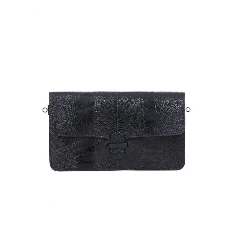 Accordion Crossbody Wallet in Black Ostrich Leg 3