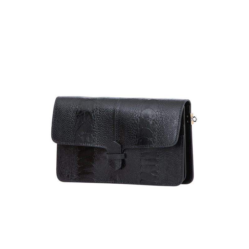 Accordion Crossbody Wallet in Black Ostrich Leg 2