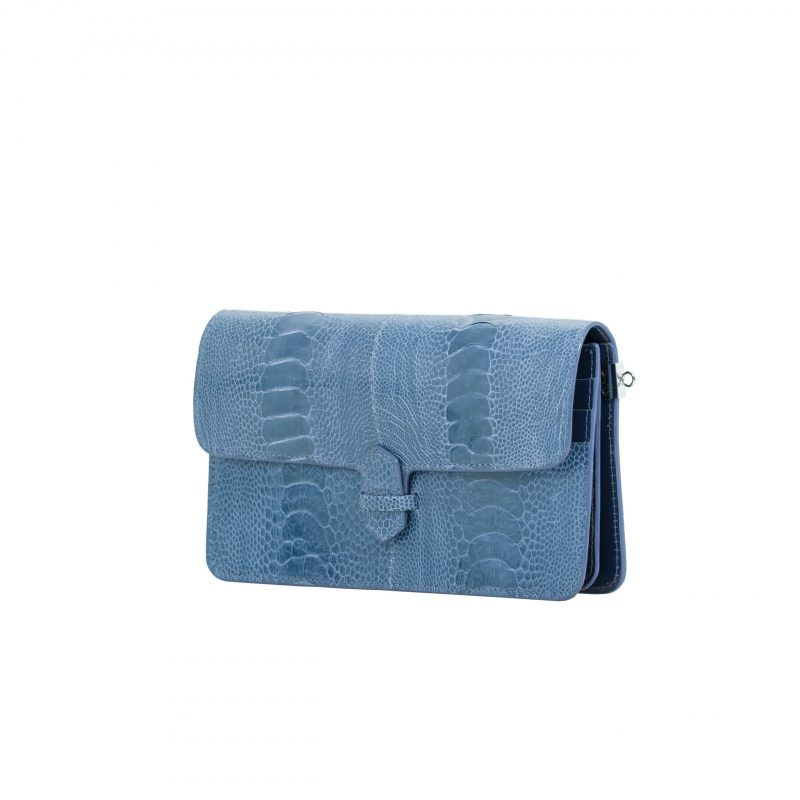 Accordion Crossbody Wallet in Clemaris Ostrich Leg 2