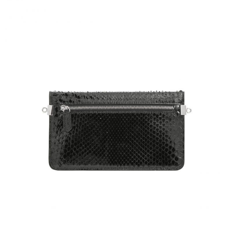 Accordion Crossbody Wallet in Black Python 3