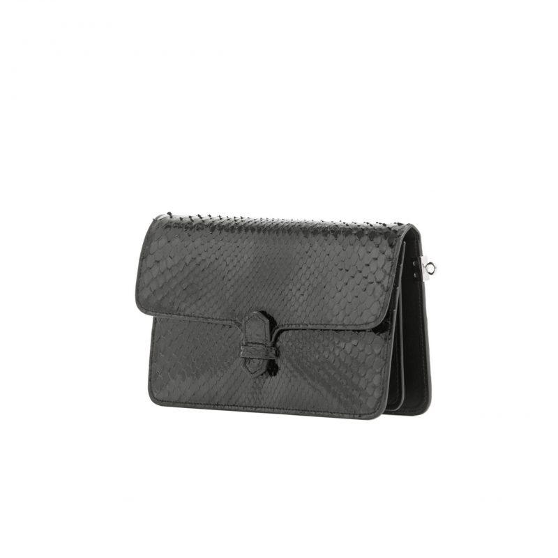 Accordion Crossbody Wallet in Black Python 2