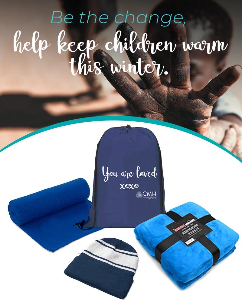 Donate a blanket, scarf and beanie bag 1