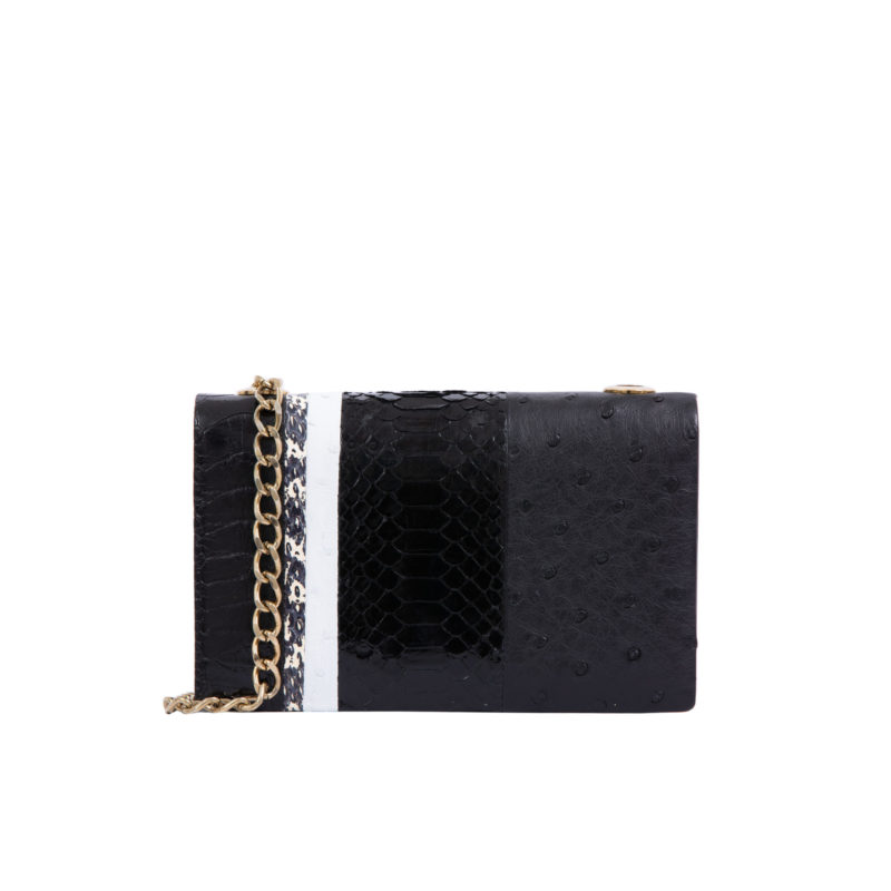 MINI ESSEX IN LINEA COMBINATION BLACK OSTRICH & PYTHON WITH ASIAN VINE TRIM 1