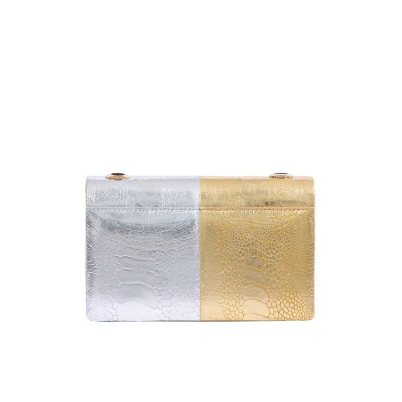 MINI ESSEX IN SILVER & GOLD OSTRICH LEG 3