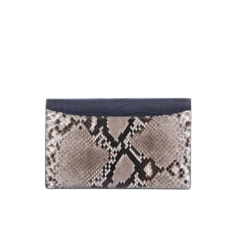 IVY IN NAVY CROCODILE & PYTHON WITH YELLOW TRIM 3