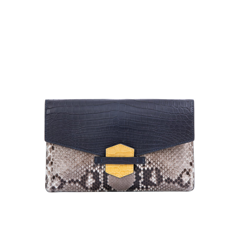 IVY IN NAVY CROCODILE & PYTHON WITH YELLOW TRIM 1