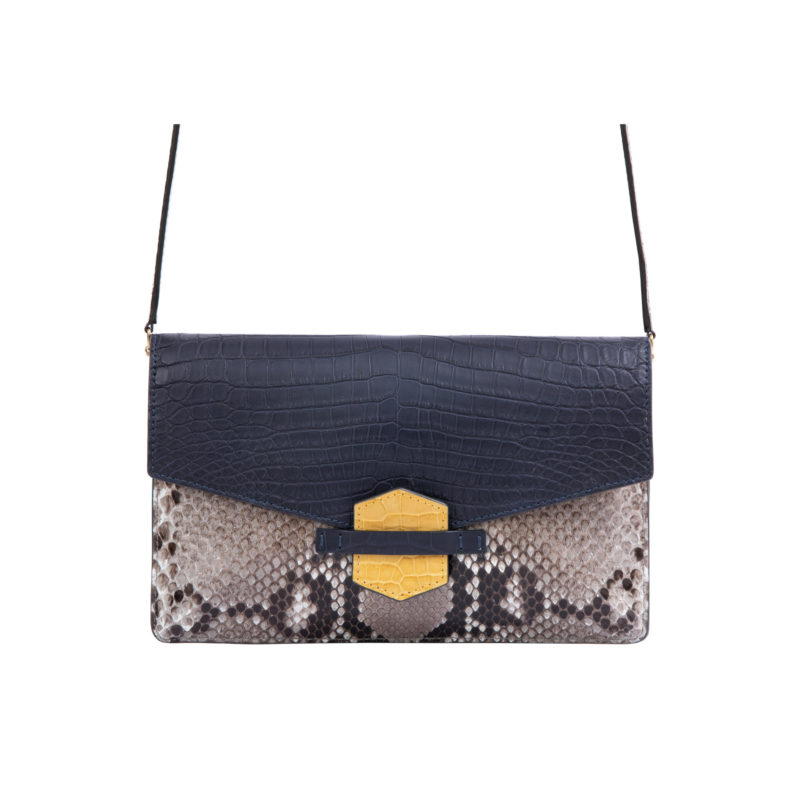 IVY IN NAVY CROCODILE & PYTHON WITH YELLOW TRIM 4