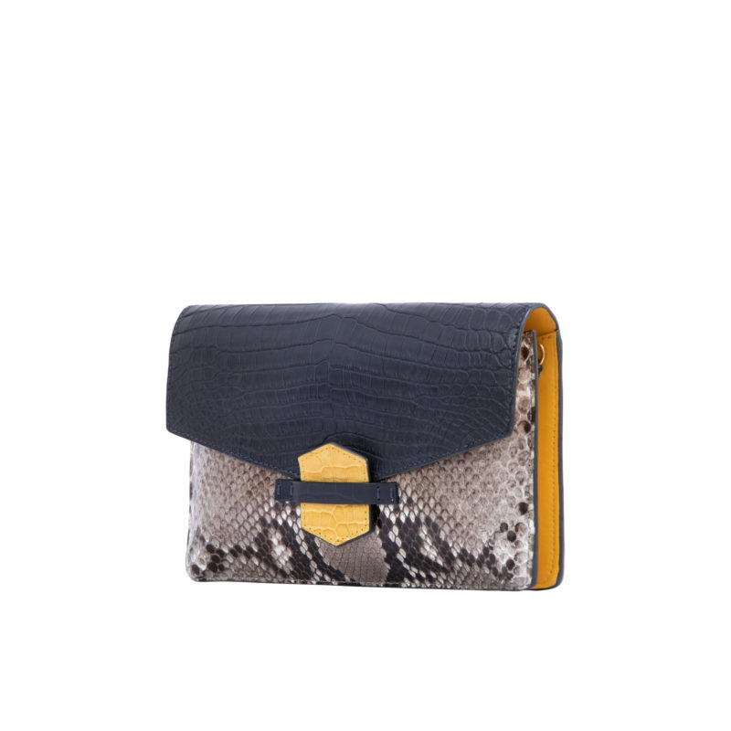 IVY IN NAVY CROCODILE & PYTHON WITH YELLOW TRIM 2