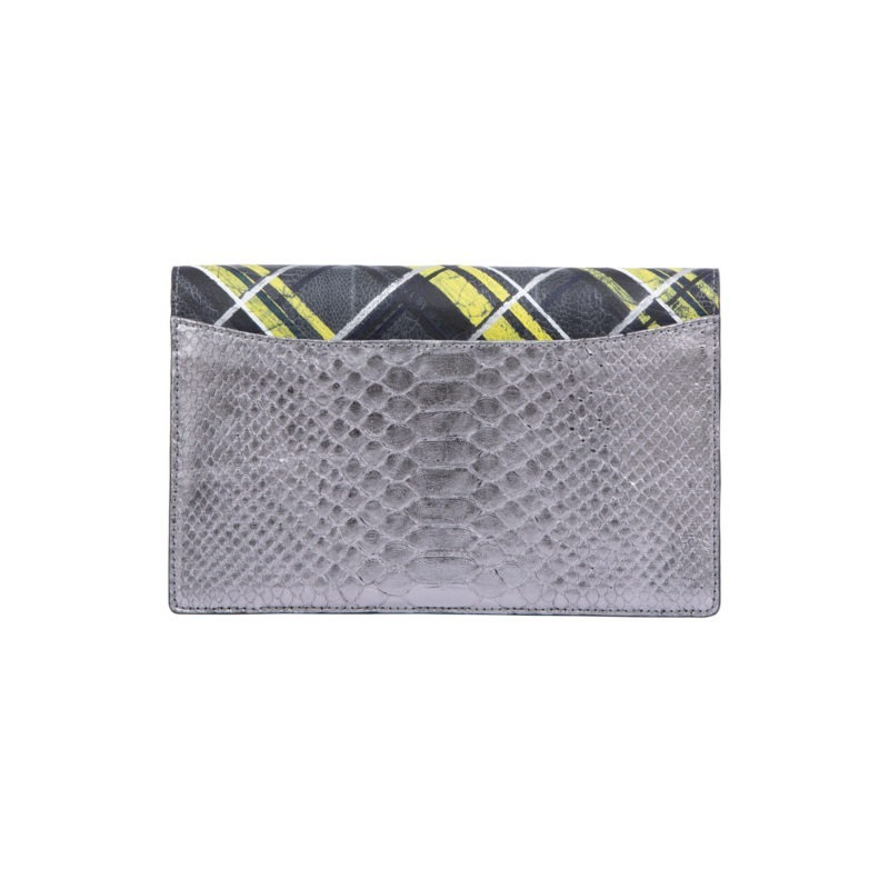 Ivy in Silver Mist Python & Hand panted Plaid Ostrich Leg Flap 3