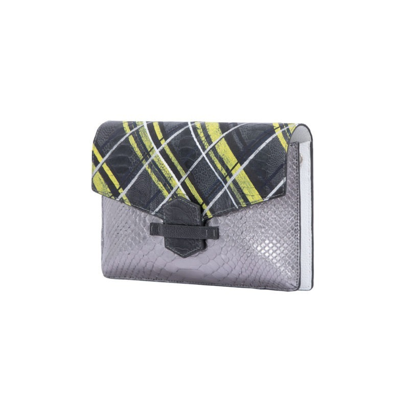 Ivy in Silver Mist Python & Hand panted Plaid Ostrich Leg Flap 2