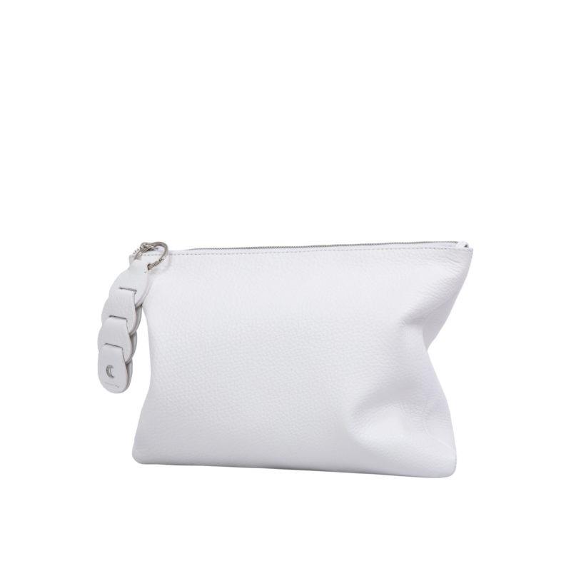 Ella clutch in White Nappa 2