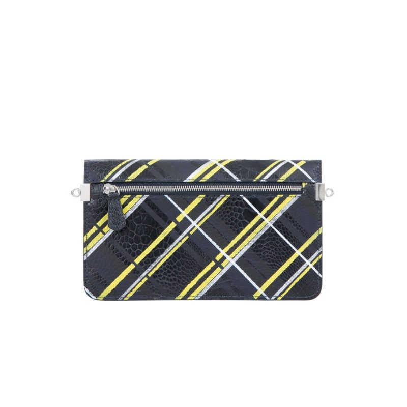 Accordion Crossbody Wallet in Hand Painted Plaid Ostrich Leg 3