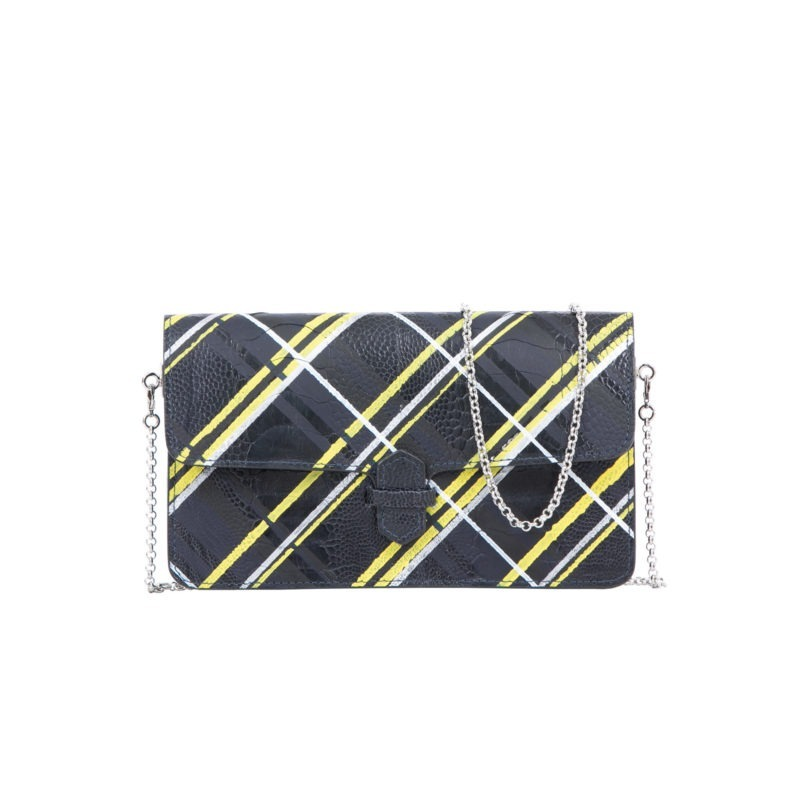 Accordion Crossbody Wallet in Hand Painted Plaid Ostrich Leg 1