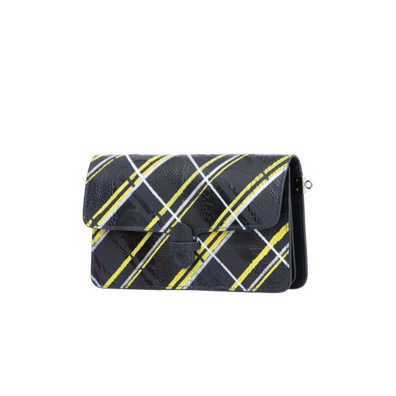 Accordion Crossbody Wallet in Hand Painted Plaid Ostrich Leg 2