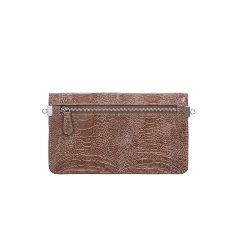 Accordion Crossbody Wallet in Noisette Ostrich Leg 3