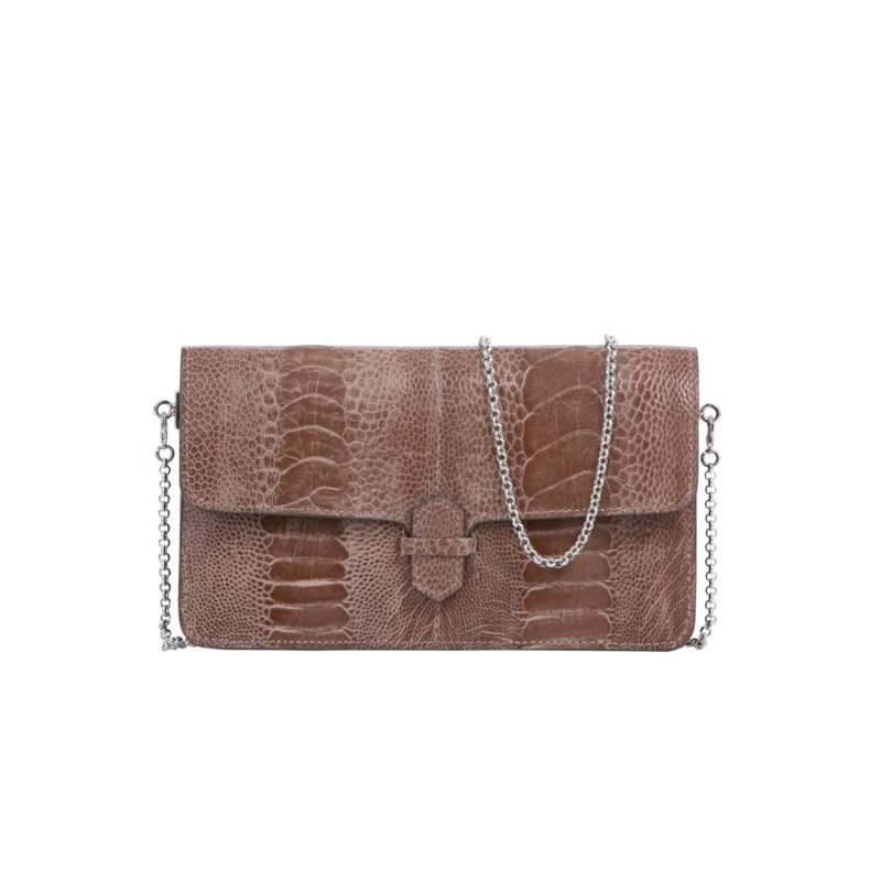 Accordion Crossbody Wallet in Noisette Ostrich Leg 1
