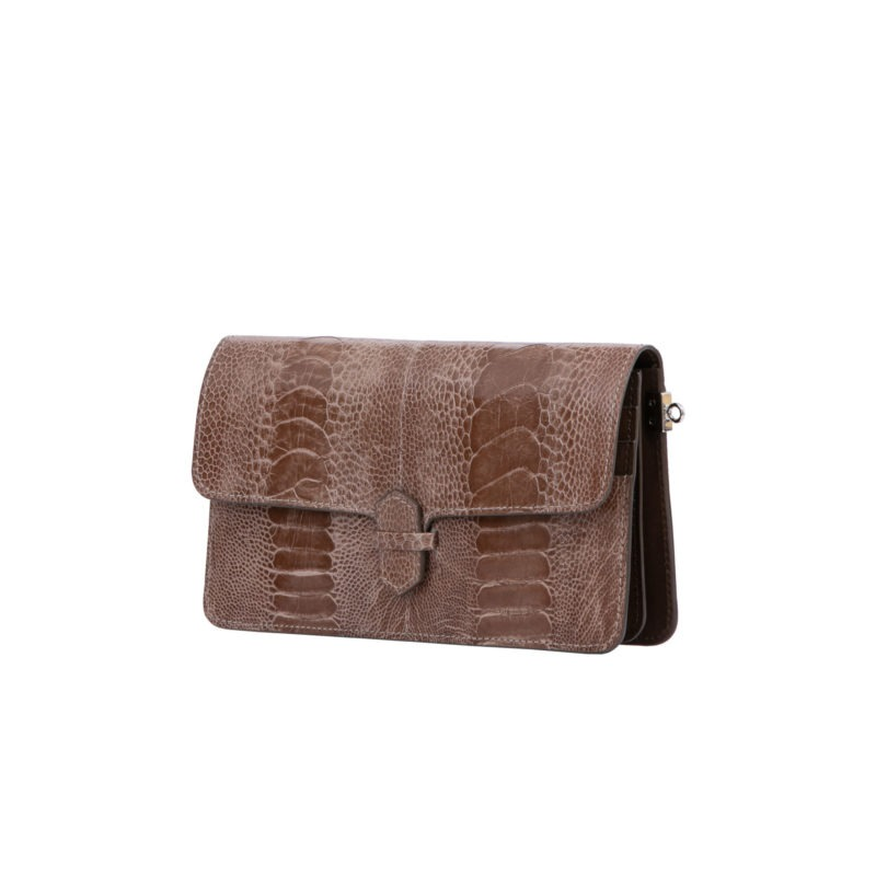 Accordion Crossbody Wallet in Noisette Ostrich Leg 2