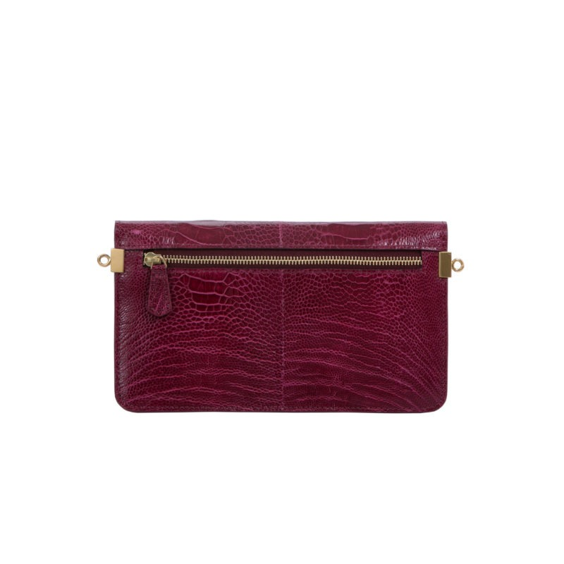 Accordion Crossbody Wallet in Wine Ostrich Leg 3