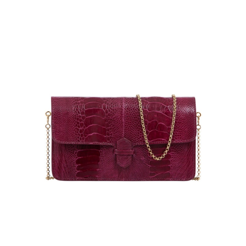 Accordion Crossbody Wallet in Wine Ostrich Leg 1