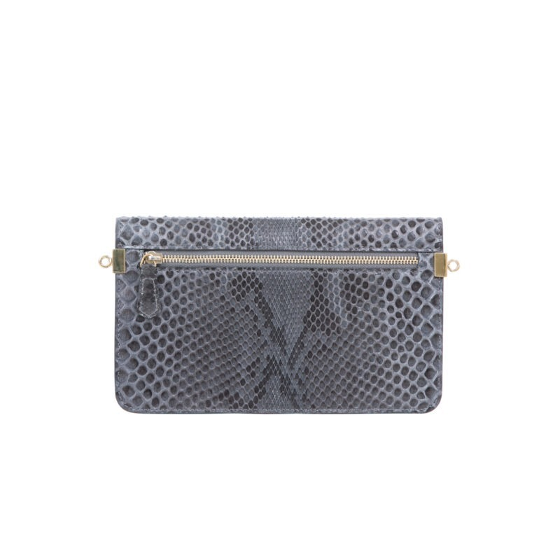 Accordion Crossbody Wallet in Anthracite Python 3